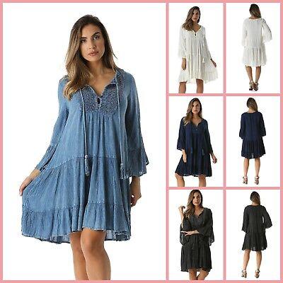 harmonious colors united kingdom best selection of 2019 Plus Size Flowy Dress Sundress Casual Beach Dresses Bohemian Bell Sleeves |  eBay