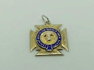 Antique-1929-Sterling-Silver-Enamel-RAOB-Royal-Order-of-Buffaloes-Medal