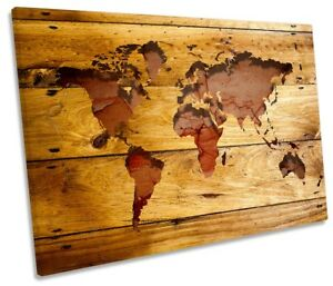 Canvas Map Of World.Map World Wooden Picture Single Canvas Wall Art Print Ebay