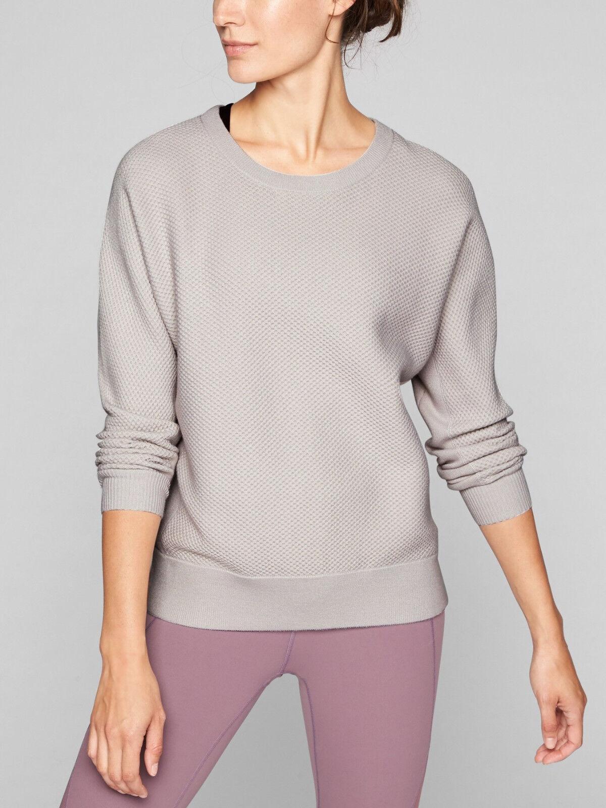 ATHLETA Thermal Honeycomb Dolman Sweater, NWOT Medium, Light Grey Washable Wool