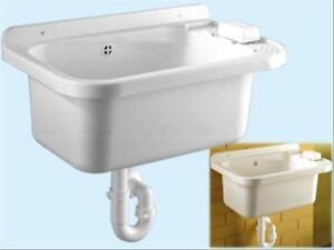 Lavandino Per Esterno In Plastica.Lavabo Lavatoio In Resina Antiurto Per Esterno Cm 50x32 Completo