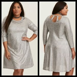 Torrid Womens Silver Metallic Shimmer Ribbed Knit Trapeze Dress Plus ...