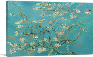 Branches-with-Almond-Blossom-Teal-Rectangle-Canvas-Art-Print-Vincent-Van-Gogh