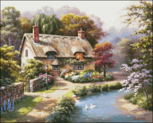 Duck Cottage Needlework Crafts Full Embroidery DIY Counted Cross Stitch Kit