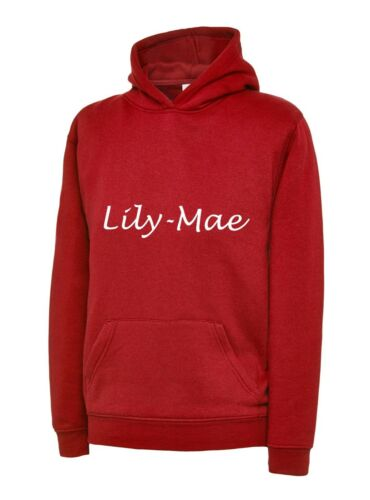 KIDS LUCINDA HANDWRITING PERSONALISED  HOODIE  BOYS OR GIRLS CHILDRENS FUN GIFT