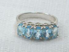 Estate Vintage Sterling Silver CNA Signed Blue Topaz Pyramid Hearts Ring
