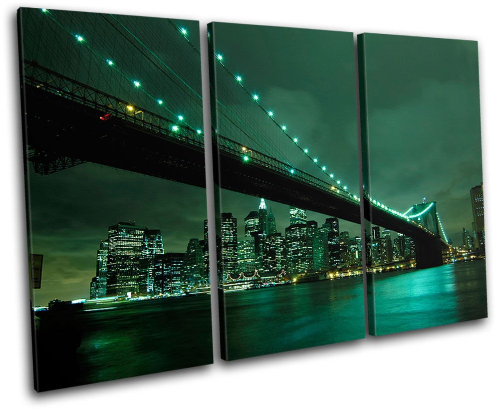 NYC Brooklyn Bridge City TREBLE TELA parete arte foto stampa stampa stampa a8196c