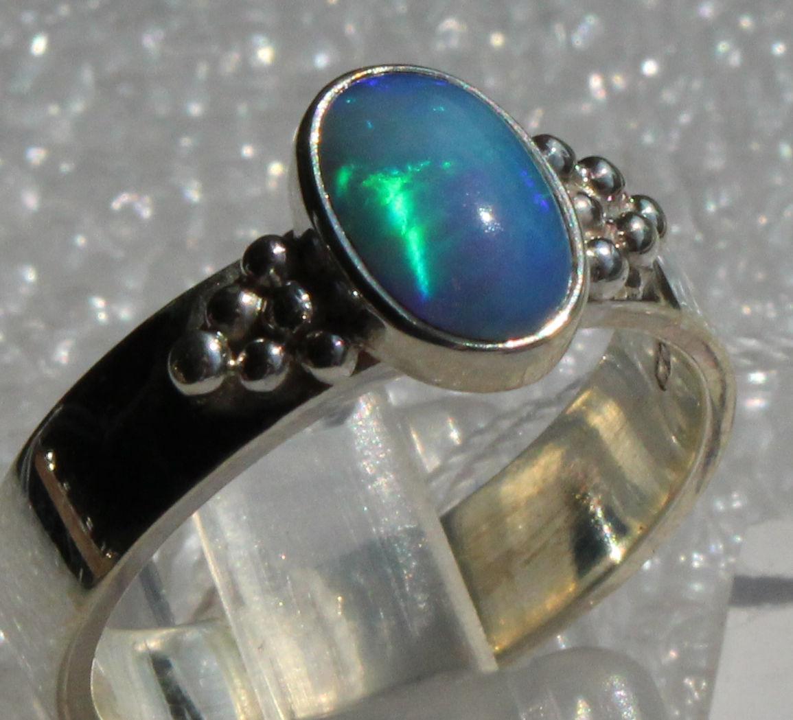 Multicolor Brazil Opal 1.15 Karat 950er silverring Größe 18,4 mm Unikat