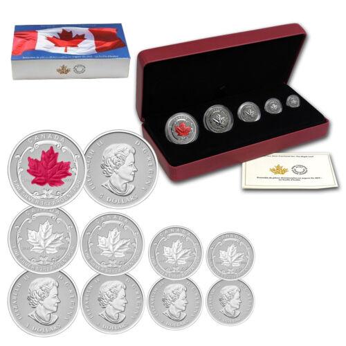 translucent red enamel 2015 Canadian Silver Maple Leaf Fractional Coin Set