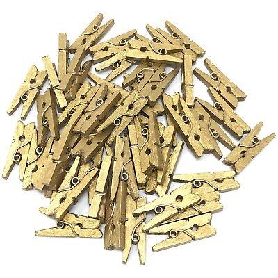 25mm Mini Gold Wooden Clothes Peg Craft For Vintage Wedding UK SELLER