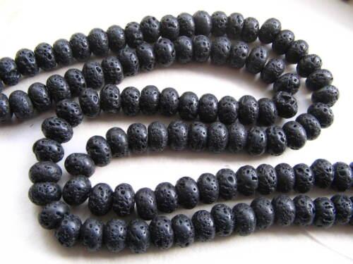 Lava Perlen Rondellen 6~7x10mm schwarz 58 Stück SERAJOSY