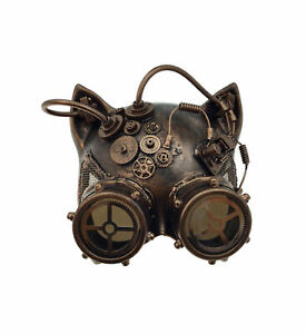 KBW Adult Unisex Steampunk Copper Cat Ear Helmet Mask with Goggles, Vintage Vict