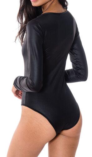 Femme Noir Pvc Mouillé Aspect Cuir à Manches Longues Body Taille 8-26