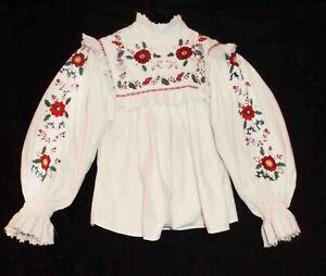 1950's Romanian MARAMURES Vintage Handmade Folk Peasant Embroidered Blouse Top