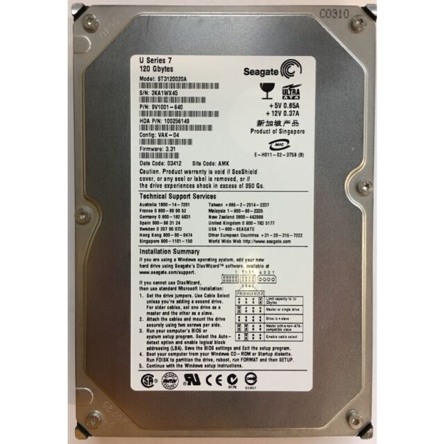 Seagate 120GB, 7200RPM, IDE - ST3120020A