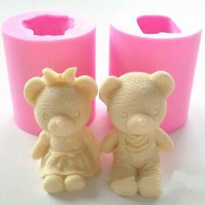 1PC-Fondant-Cake-Mold-Couple-Bear-Silicone-Mould-Wedding-Decor-Sugarcraft-B-I9O6