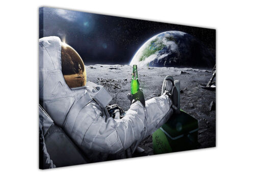 ASTRONAUT WITH BEER ON MOON BLACK WHITE CANVAS PRINTS WALL ART PICTURES EARTH