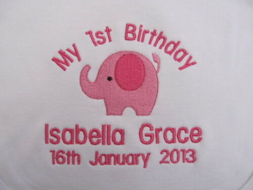 Great Gift GIRL Personalised Baby Bib Embroidered for Baby/'s 1st Birthday