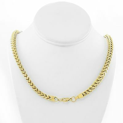 18K Yellow Gold 4mm STAINLESS STEEL Franco Chain Box Link Curb Mens Necklace