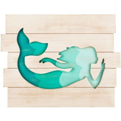 Beautiful Turquoise Mermaid Wall Decor Beach House Decor Nautical Art Ocean New!