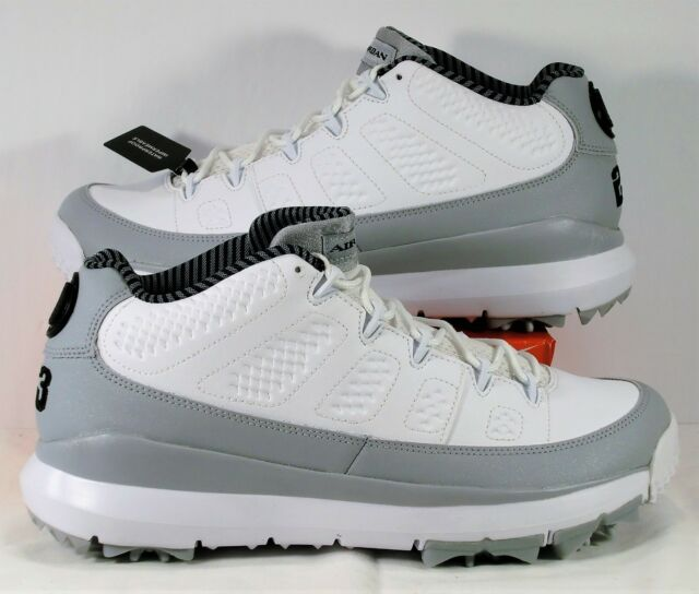 cheaper 84324 65669 Nike Air Jordan 9 IX Retro Low White & Wolf Grey Golf Shoes Sz 8 NEW 833798  103