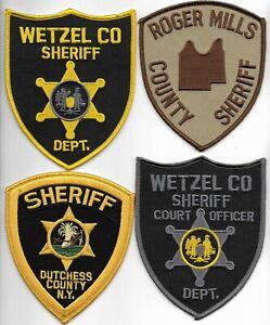 SET Nr.09:  4 Stück USA Police Patch SHERIFF WV NY OK Polizei Abzeichen 12-13 cm