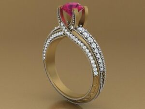 2.0ct Round Cut Solitaire Pink Sapphire Engagement Ring Band Sterling Silver 925