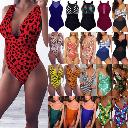 Damen Einteiler Push up Badeanzug Gepolstert Bademode Schwimmanzug Monokini