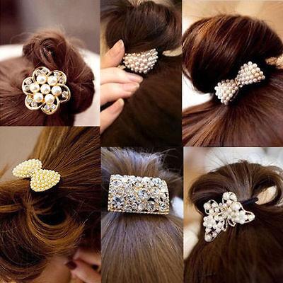 Women Crystal Rhinestone Pearl Hair Band Rope Elastic Ponytail Holder Bowknot