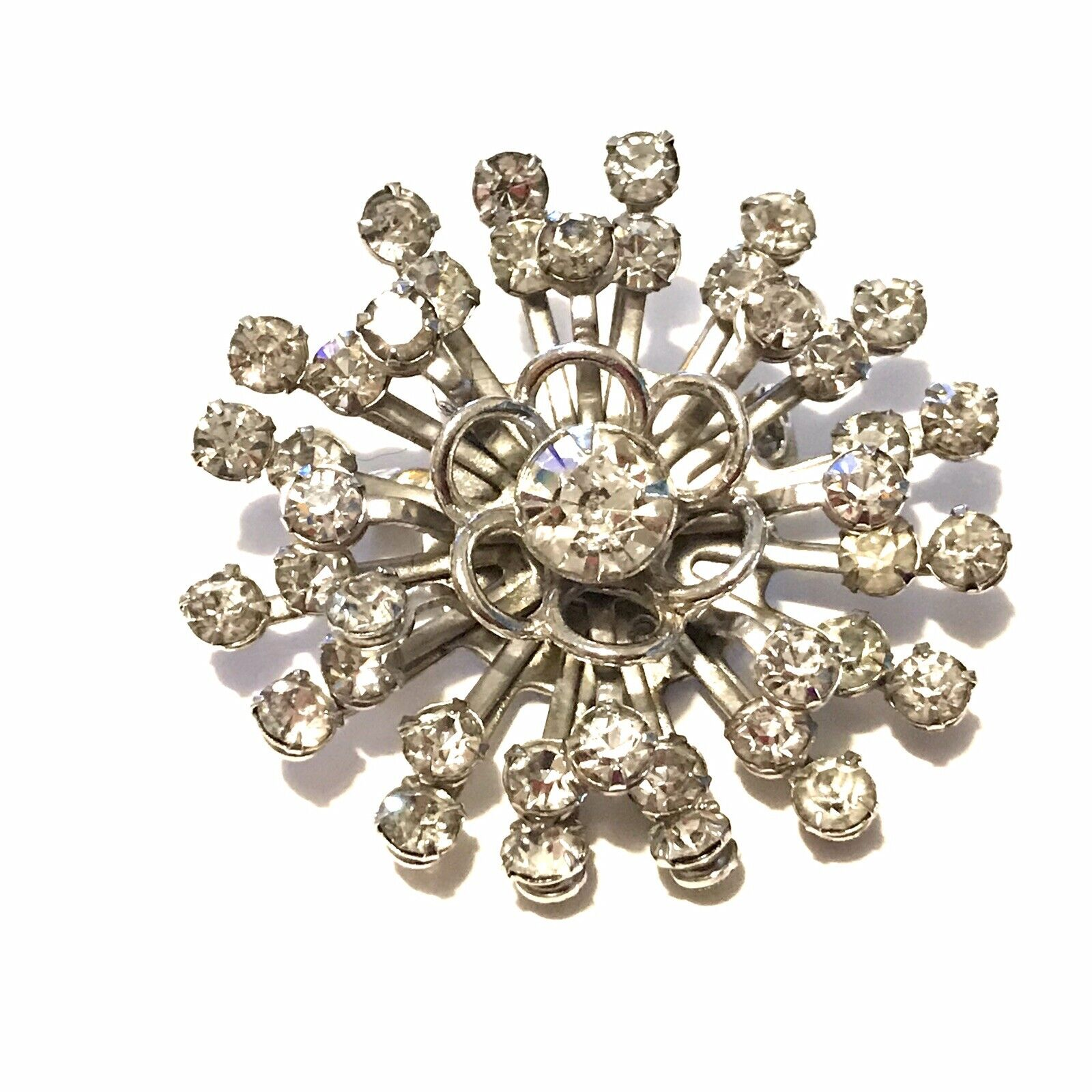 Vintage Silver Spiral Floral Motif with Center AB Crystal Rhinestone Pin Brooch