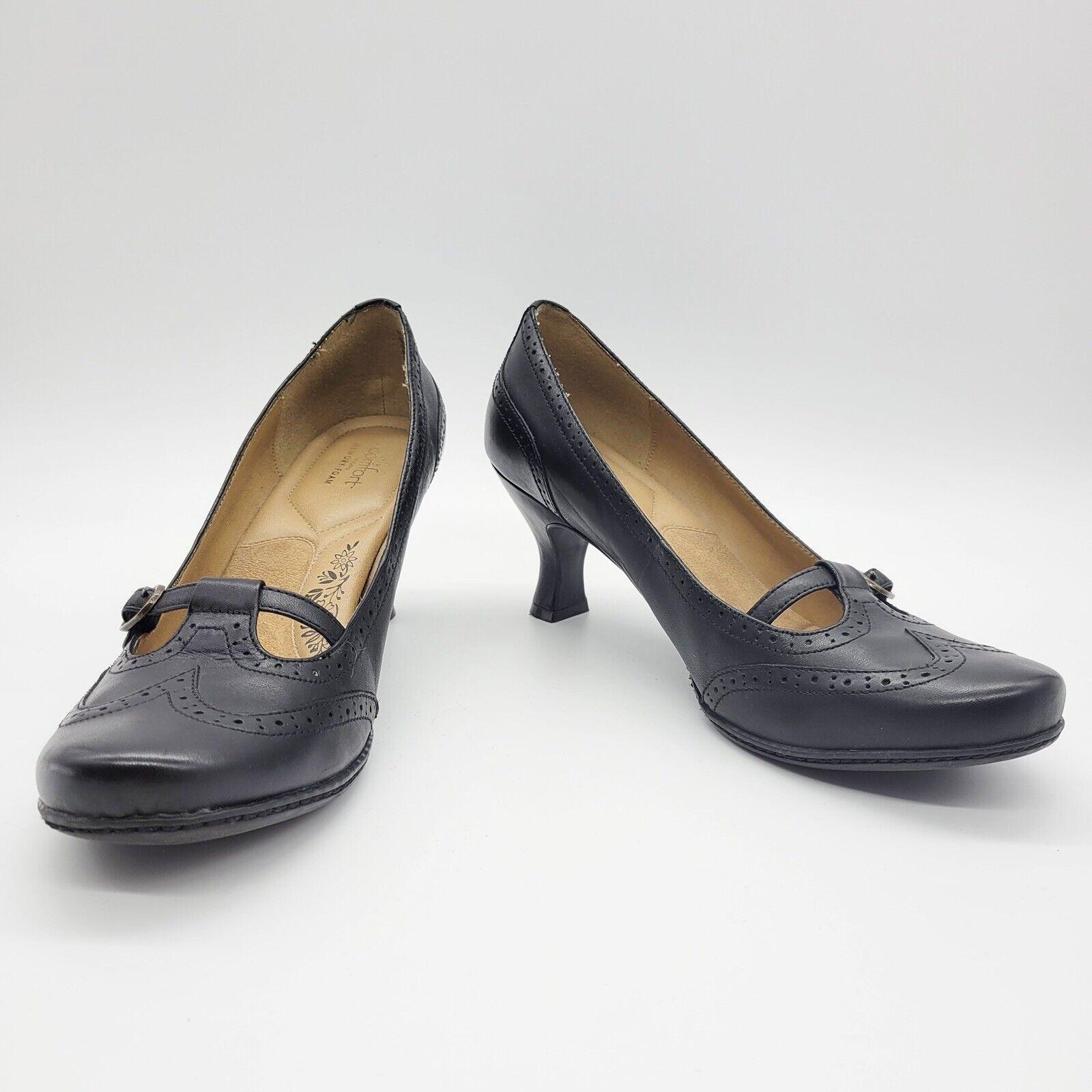 Strictly Comfort Heels 10 Women's Black Leather Kitten Heel Mary Jane Shoes