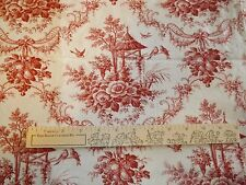 "3 Yards Toile Pattern 44"" Cotton Fabric - Dark Red and Cream - Quilting/Crafts"