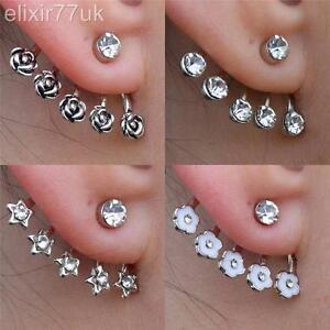 NEW-SILVER-STAR-ROSE-FLOWER-DIAMANTE-CRYSTAL-EAR-CUFF-CARTILAGE-STUD-EARRING-UK
