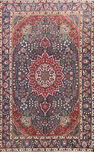 Vintage Floral Hand-knotted Tebriz Area Rug Traditional Oriental Wool 7x9 Carpet
