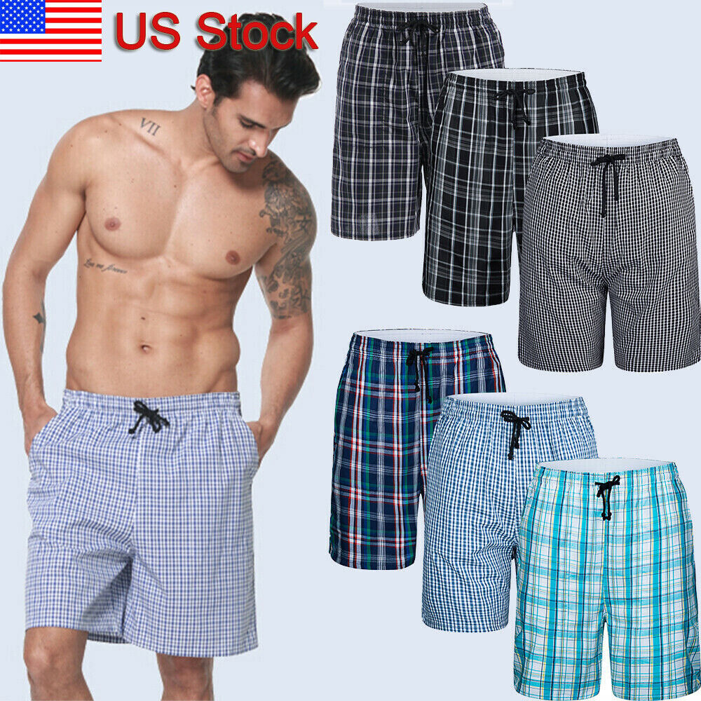 men s sleep shorts cotton plaid sleepwear