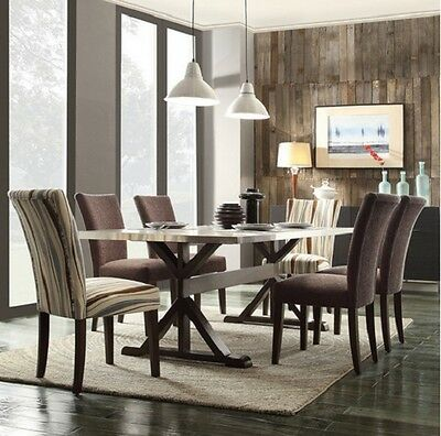 Stainless Steel Dining Table Wood Modern Contemporary Kitchen Furniture 80\