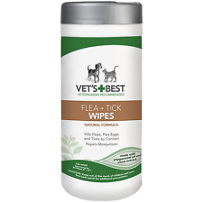 Vet's Best Natural Flea and Tick Wipes for Dogs & Cats, 50 Wipes