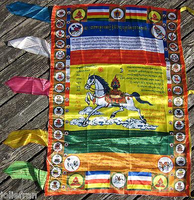 """BIG 27"""" x 37"""" SATIN UNIQUE TIBETAN BUDDHIST BANNER VERTICAL PRAYER FLAG NEPAL"""