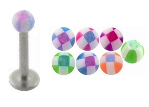 Nuevo De Acero Quirúrgico Labret oreja tragus Bar Con Cuadros De Diseño De Varios Colores
