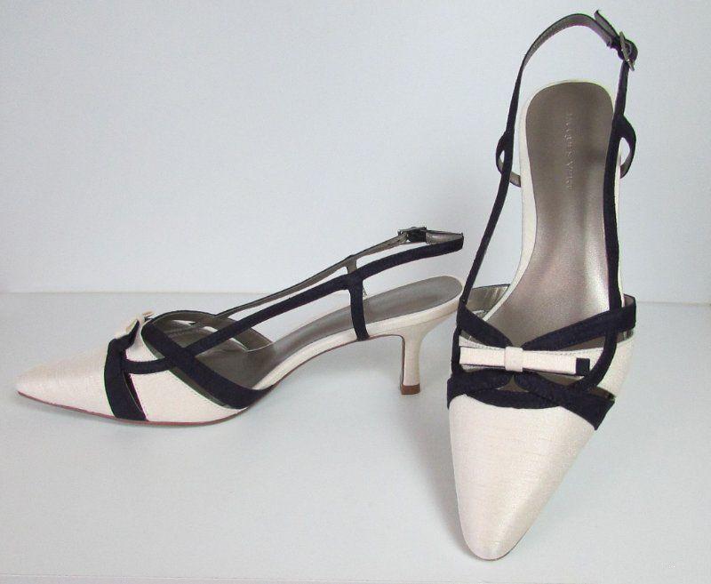 Jacques green Strippy shoes Ivory & Dark Purple   Bow Trim Size 7 40 BNWB   JR