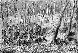 GUERRE-de-1870-PARIS-ESCARMOUCHE-dans-les-BOIS-Gravure-du-19eme-siecle