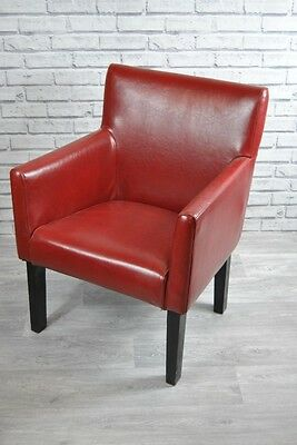 Chair Red Leather Feature Retro Style Armchair Ebay