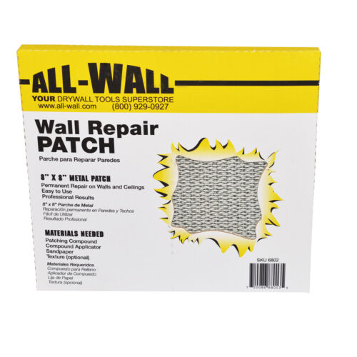 "10Ct. Drywall Repair Patches 8"" x 8"" SelfStick Mesh & Metal Fist Size"