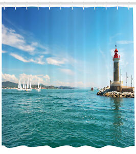 Image Is Loading Bright Day By Seaside Sailboats Lighthouse Island Seascape