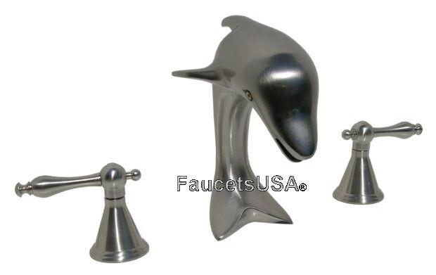 Brushed Nickel Dolphin Sink Faucet Lever Handles Ship AllBrass 2144 SNL |  EBay