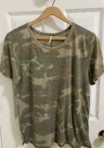 Free People Tourist Tee T Shirt in Army Camo Size XS