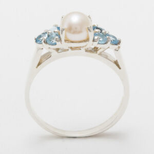 Solid-9ct-White-Gold-Full-Pearl-amp-Blue-Topaz-Womens-Cluster-Ring-Sizes-J-to-Z