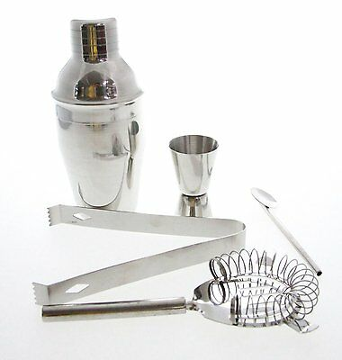 Set 5 350ml Stainless Steel Cocktail Shaker Mixer Drink Bartender Kit Bar Tools