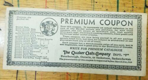 Were used to redeem Quaker Hockey Photos. 1939-1942 Quaker Oats Premium Coupons