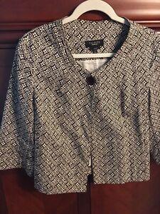 TALBLOTS-Jacket-Brown-amp-Ivory-Floral-Geometric-Swing-Coat-Blazer-Sz-12